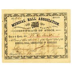 Musical Hall Association of Honolulu 1888 I/U Stock Certificate