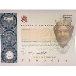 Burger King Holdings, Inc. 2006 Specimen Stock Certificate.