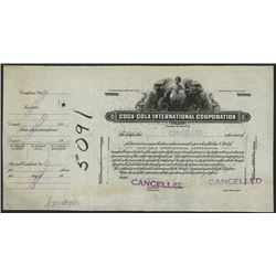 Coca-Cola International Corp. 1940-50's Proof Stock Certificate