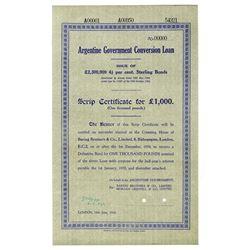 Argentine Government Conversion Loan 1934 Specimen Scrip Certificate Bond