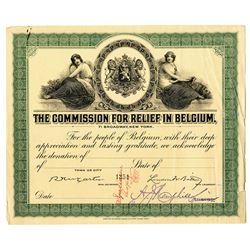 Commission for Relief in Belgium ca.1918-20 Specimen Donation Certificate.