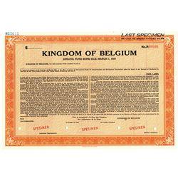 Kingdom of Belgium, 1949 Specimen Sinking Fund Bond.