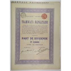 Societe Anonyme des Tramways Napolitains, 1908  Lot of 15 I/U Bonds.