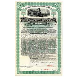 Leamington and St. Clair Railway Co. 1889 Specimen Bond