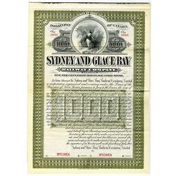 Sydney and Glace Bay Railway Co. Ltd. 1902 Specimen Bond Rarity
