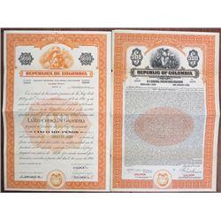 Republic of Colombia Specimen 1927 and 1940 Bond Pair