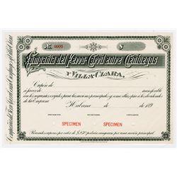 Compania del Ferro-Carril entre Cenfuegos, 1890 Specimen Certificate, XF