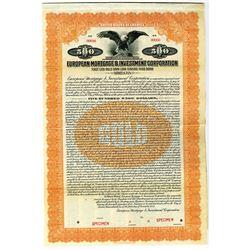 European Mortgage & Investment Corp., $500 Specimen Bond