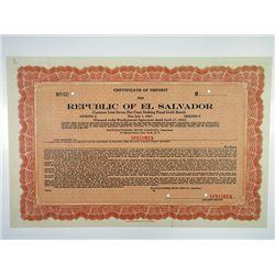 Republic of El Salvador 1932 Specimen Certificate of Deposit for 7% Bonds.