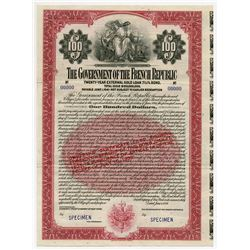 Government of the French Republic, 1921 Specimen External Gold Loan Bond.