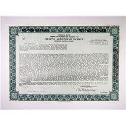 Siemens Aktiengesellschaft. 1975 Specimen ADR Stock Certificate.