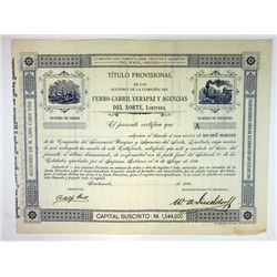 Verapaz Railroad and Northern Agencies 1896 Stock Certificate Rarity