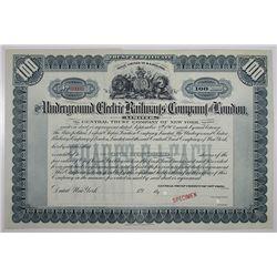 Underground Electric Railways Co. of London Ltd. Specimen Stock Certificate