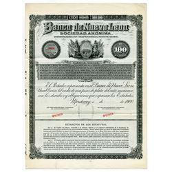 Banco de Nuevo Leon Sociedad Anonima, 1900 Specimen Stock/Bond.