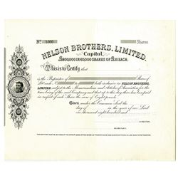 Nelson Brothers, Limited, 1892 Specimen Stock Certificate