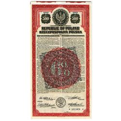Republic of Poland 1920, Specimen Bond with Clause Changing Interest Paid and Payable in legal Tende