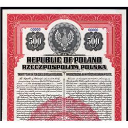 Republic of Poland, 1920 U.S. Dollar Gold Bond.