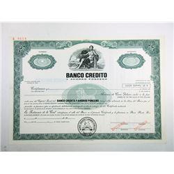Banco Credito y Ahorro Ponceno, 1970's Specimen Stock Certificate.