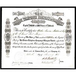 Edison Telephone Company of Glasgow, 1880 I/U Stock Certificate.