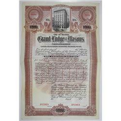 Grand Lodge of Masons in Massachusetts Specimen Bond