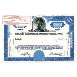 Atlas Chemical Industries, Inc. 1961 Approval Proof Stock Certificate.