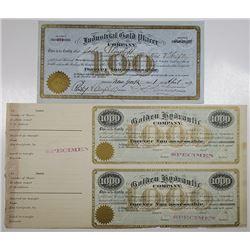 Golden Hydraulic Co. 1000 Shares Specimen Stock Certificate Pair
