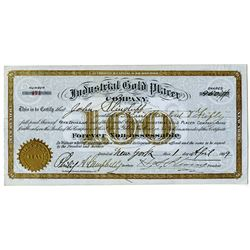 Industrial Gold Placer Co., 1899 I/U Stock Certificate.