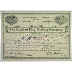 Coleman Flag Packing Co, 1887 I/U Stock Certificate