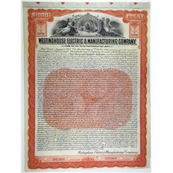 Westinghouse Electric & Manufacturing Co., 1907 Specimen Bond Payable in Francs and Pounds.