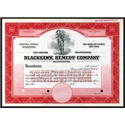 Blackhawk Remedy Co. 1900-1920 Specimen Stock Certificate.