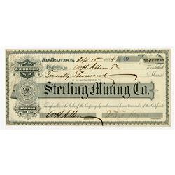 Sterling Mining Co. 1884 I/U Stock Certificate