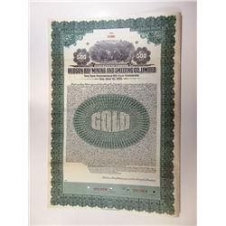 Hudson Bay Mining and Smelting Co Ltd., 1930 Specimen Gold Bond, Alaska Related Certificate.