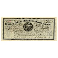 Bressler Mining & Smelting Co. of Chicago. 1882 I/U Stock Certificate.