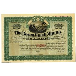 Boren Gulch Mining Company, 1900's Specimen Stock Certificate
