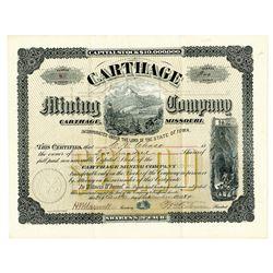 Carthage Mining Company, 1884 I/U Stock Certificate.