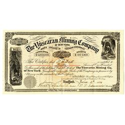 Yuscaran Mining Co. of New York 1886 I/U Stock Certificate
