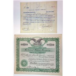 Colossal Cavern Co., 1928 I/C Stock Certificate Pair.