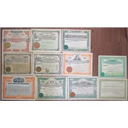 Louisiana Oil, Coal & Refining Stock Certificate Group of 11 Pieces, ca.1901 to 1934.