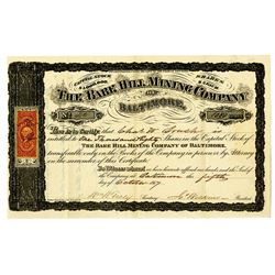 Bare Hill Mining Co. of Baltimore, 1867 Stock Certificate