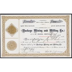 Buckeye Mining and Milling Co. Stock Certificate.