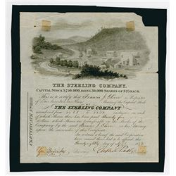 The Sterling Co., 1843 I/U Stock Certificate Rarity.