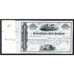 Pennsylvania Coal Co., 18xx (ca.1860-70's) Specimen Stock Certificate.