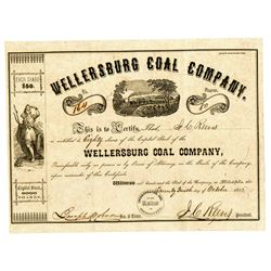 Wellersburg Coal Co., 1855 Issued Stock Certificate