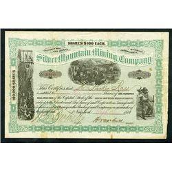Silver Mountain Mining  Co., 1878 I/U Stock Certificate.