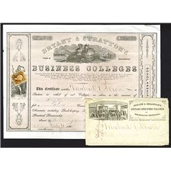 Bryant & Stratton's Chain of International Business Colleges, 1865 Issued Tuition Certificate With E