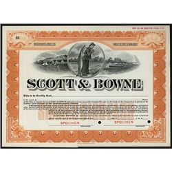 Scott & Bowne 1900-20 Specimen Stock Certificate.