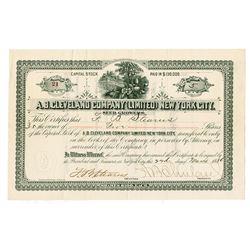 A.B. Cleveland Company Ltd., New York City Seed Growers, 1886 I/U Seed Company Stock Certificate.