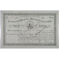 Mormon Company, Arizona Co-Operative Mercantile Institution, 1891 I/C Stock Certificate