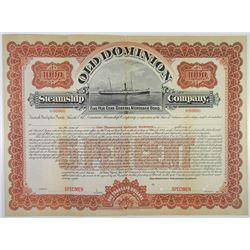 Old Dominion Steamship Co. 1898 Specimen Bond