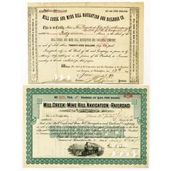 Mill Creek & Mine Hill Navigation & Railroad Co., 1879-1907 Cancelled Pair of Stock Certificates